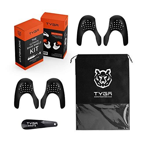 TYGA Store   Kit protezione per scarpe - 4 antipiega- Scarpe da ginnastica / per crepe, antipiega - Adatto a EU 35-46   Tutto nero - 2 paia + calzascarpe + borsa per il trasporto + confezione regalo