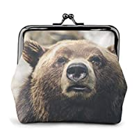 ミニ財布 小銭入れ コインケース ミニポーチ Bear in the Wild柄 小さい財布 PUレザー 軽量 鍵 カード収納 約幅11.5cmx丈10.5cm