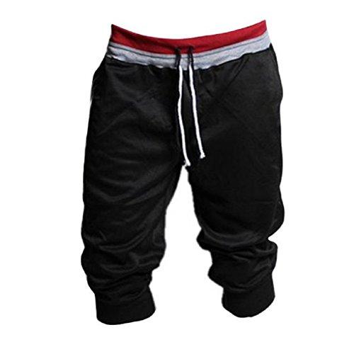 Malloom® 1pc Pantalon De Survêtement Hommes Sport Short Harem Danse Ample Pantalon De Jogging De Formation (M, Noir)