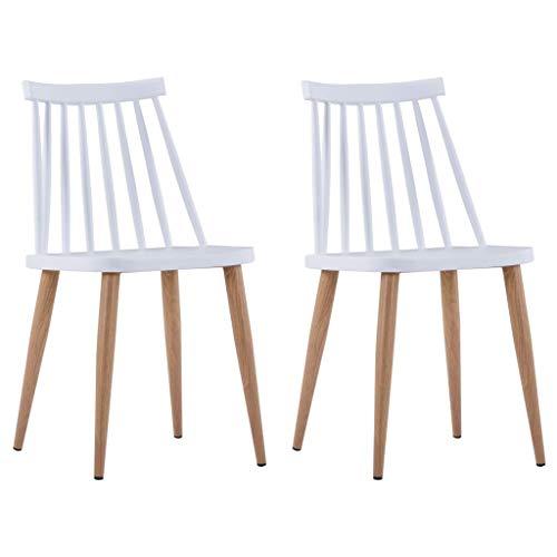 Silla de Comedor, Silla de Cocina, sillón de salón, Asiento Decorativo, Silla de recepción, sillas de Comedor, 2 Piezas, plástico Blanco