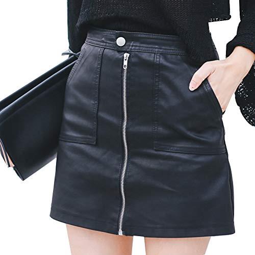EULAGPRE Falda Sexy de Cuero de imitación de la PU de Las Mujeres Mini con los Bolsillos Falda de la Cremallera