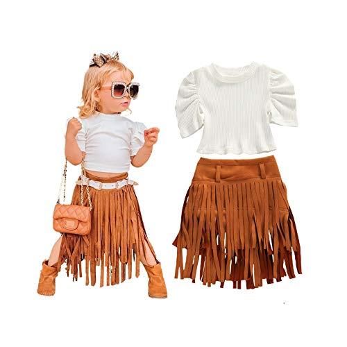 LXXIASHI - Conjunto de 2 camisetas de girasol con hombros descubiertos y vestido largo con falda floral, Manga de puff de punto blanca,...