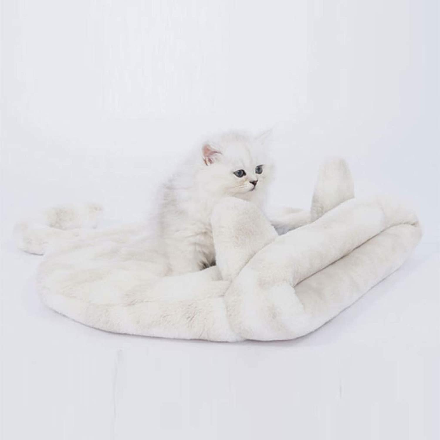 Cat Litter Winter Warm Closed Cat Sleeping Bag Washable Design Thick Soft Comfortable Cat House, Two colors SMBYLL (color   Yellow)