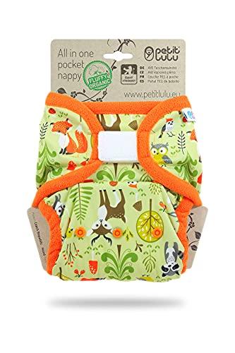 Petit Lulu AIO Pañal de Bolsillo, Talla Única (4 – 15 kg), Gancho y Bucle, Orgánico | Pañales Reutilizables y Lavables | Insertos de Algodón Ecológico (Forest Animals)