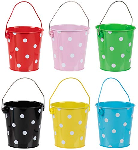 Juvale Colored Mini Metal Buckets - 6-Pack Colorful Tin Pails with Handles, Polka Dot Design on Assorted Colors, Small-Sized for The Beach, Party Favors, Easter, Candy, or Garden