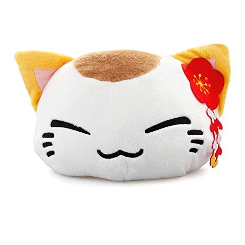 Nemu Nemo Neko Kuscheltier Katze Weiss, gelbe Ohren mit Lotus Manga Anime Otaku Kawaii Stofftier Plüschtier Plush Cat Merchandise zum Kuscheln Original aus Japan
