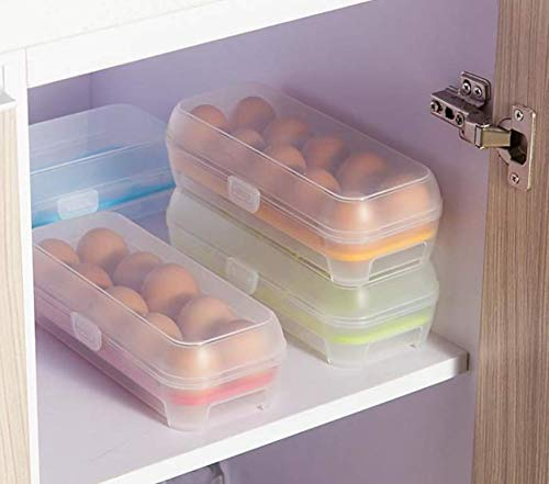 Jellbaby Küchenbedarf, Aufbewahrungsbox für Kühlschrankeier, Aufbewahrungsbox für tragbare Picknickeier mit 10 Gittern, orangefarbene Eierbox aus Kunststoff
