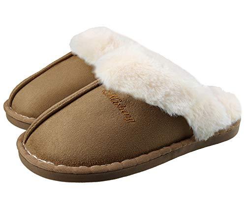 SMajong Lammfell Hausschuhe Damen Herren Flach Home rutschfeste Slippers Wärme Weiche Plüsch Pantoffel Indoor Hause Slippers