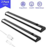 AUSPICE Motion Sensor Under Cabinet Lights, USB Rechargeable Cupboard Light Indoors with 100LM LED Lighting for Closet Kitchen, Wardrobe Night Light with StickOn Magnetic Strip (2 Pack)