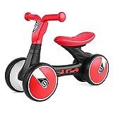 Bamny Quadriciclo Senza Pedali, Bicicletta Senza Pedali per Bambini di età Compresa tra 1 Anni e 3 Anni (Rosso-Nero)