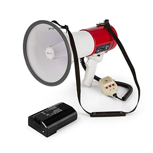 auna Megaphon MEGA080USB - Megafon, Stimmenverstärker, 1.500-mAh-Akku, bis 700 m Reichweite, Sprech-, Sirenen oder Pfeif-Modus, USB- und Rec-Funktion, SD-Slot, MP3-Player, Tragegurt, rot