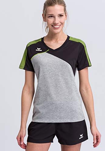 Erima Damen PREMIUM ONE 2.0 T-Shirt, grau melange/Schwarz/lime pop, 42