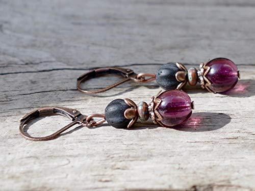 NEU!!! - Zarte Vintage Ohrringe mit böhmischen Glasperlen - lila, aubergine, schwarz matt & kupfer