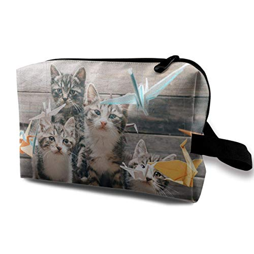 Women's Origami Crane with Cats Travel Hanging Toiletry Bag Portable Travel Kit Shaving Bathroom Storage Bag Waterproof Cosmetic Organize