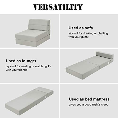 Giantex Fold Down Sofa Bed Floor Couch Foam Folding Modern Futon Chaise Lounge Convertible Upholstered Memory Foam Padded Cushion Guest Sleeper Chair (Gray)