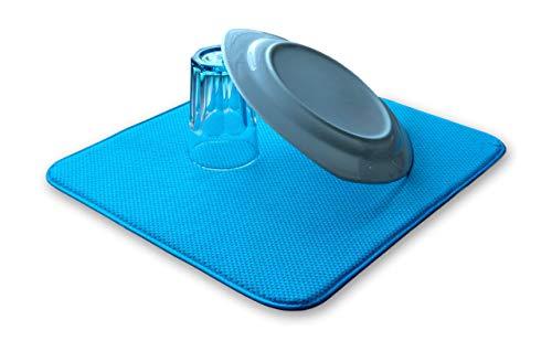 ELEXCLEAN Abtropfmatte, Mikrofaser Schutz für Küche, Spüle und Geschirr (44x41 cm, Türkis/Grün-Blau) Trockenmatte als Abtropf Unterlage