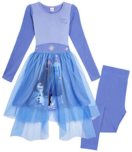 Disney Die Eiskönigin 2 Prinzessinenkleid Mädchen, Anna und ELSA Kostüm. Lang Blau Tutu Rock Mädchen 2 Verschiedene Designs, Geschenke für Kinder (Blau Memories, 5-6 Jahre)