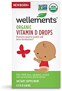 Wellements Organic Vitamin D Drops, 0.15 Fl Oz, Baby Liquid Vitamin Supplement for Infants and Toddlers, Free from Dyes, P...