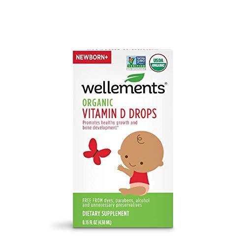 Wellements Organic Vitamin D Drops, 0.15 Fl Oz, Baby Liquid...