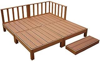 人工木ウッドデッキ 8点セット 1坪 連結用ネジ付 樹脂 デッキ 縁台【2色選択可】 (ブラウン)