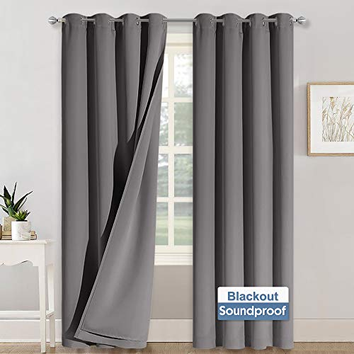 RYB HOME Soundproof Curtains 84 inches - 3 Layers Blackout Curtains Noise Cancelling Thermal Insulted Drapes for Door Window Living Room Room Divider Curtains, W 52 x L 84 inch, Gray, 1 Pair