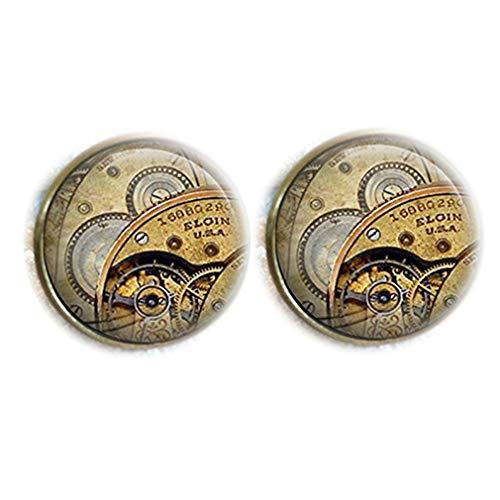 Bloody devil Time Jewelry,Vintage Steampunk Elgin Reloj de cristal cúpula redonda Cabujón Gemelos de pulsera, regalo de amor