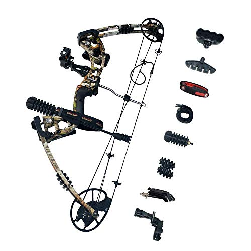 SHARROW Archery Compound Bow Kit 30 70lbs Aluminum Alloy Adult Hunting Bow with All Bow Accessories and Carbon Arrows for Outdoor Shooting Camo