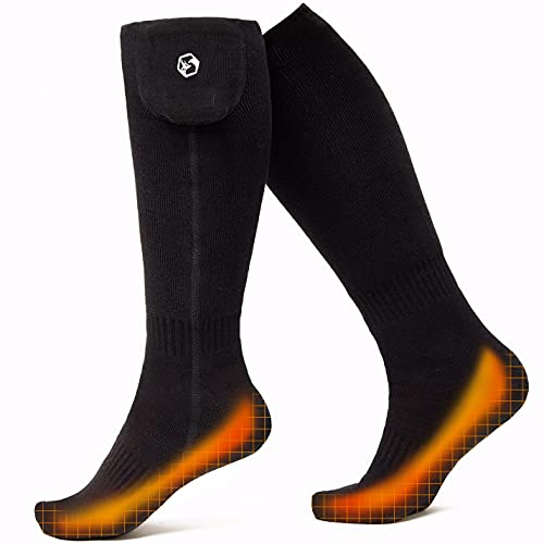 Foxelli Rechargeable Heated Socks – Electric Heated Socks for Men & Women, Battery Powered Socks
