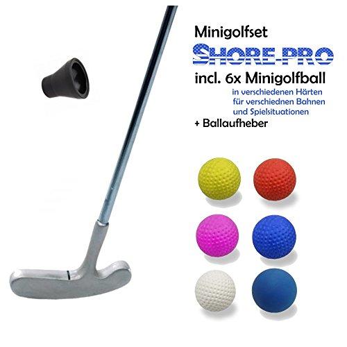 Minigolfset PROFESSIONAL - 8-teilig (mit 6 verschiedenen SHORE-Bällen für unterschiedliche Bahnen u. Bedürfnisse) und Minigolf-Pick-Up