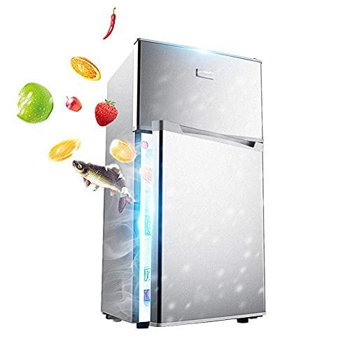 SHKUU Refrigerador Gran Capacidad 118L Congelador Puerta Doble Temperatura Ajustable Independiente Refrigerador bajo Ruido con compresor con Caja Frutas y Verduras