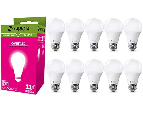 Superia Lampadina LED E27 Goccia, 11W (Equivalenti 70W), Luce Naturale 4000K, 1010 lumen, GE27N, Pacco da 10