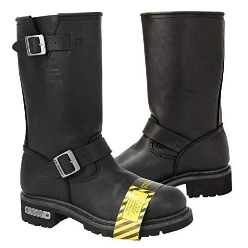 Xelement 1445 Men's Black Steel Toe Motorcycle Engineer Boots - 11