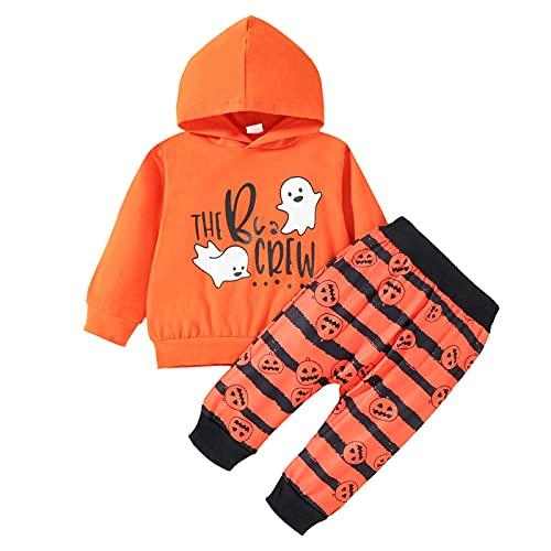 Conjunto de chándal de disfraz de Halloween para bebé, letras impresas con capucha, sudadera de manga larga y pantalones de empalme para niños pequeños, juego de 2 piezas, naranja, 24 meses
