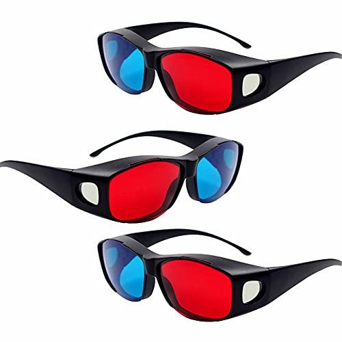 3D Glasses,Red Blue 3D Virtual Video Anaglyph Eyeglasses,Plastic Passive 3D...