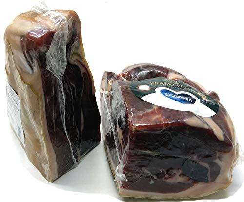 Luftgetrockneter Karst Schinken - Prosciutto - Kraski Prsut 18-19 Monate gereift Rohschinken Luftgetrocknet mit Meersalz aus der Saline von Piran, Naturprodukt aus Istrien. Stück ca. 1300g (Einweg)