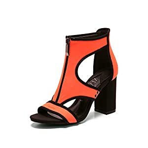 MACKIN J 197-2 Women's Chunky Heel Sandals Open Toe Sandals with Front Zipper Orange 10 by