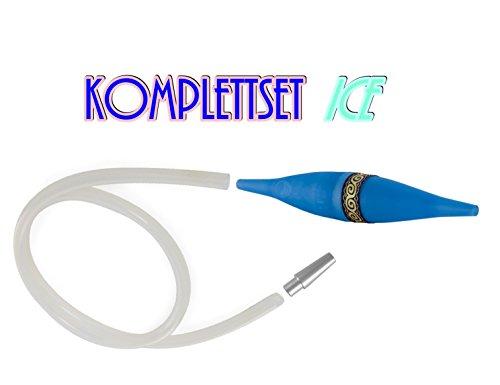 Shisha Aufrüst-Kit Ice-Bazooka Blau, Komplettset mit 150cm Silikon-Schlauch