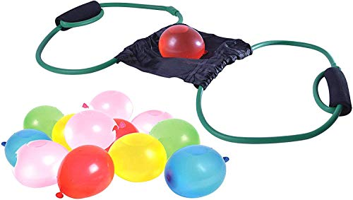 Three Person Water Balloon Launcher Yard for Summer Games' Hours of Fun - Water Balloon Slingshot for Kids and Adults with 50 Balloons Included as Delightful Outdoor Toy