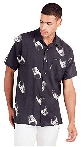 True Religion Herren Hemd, kurzärmelig, lockere Passform, mit Totenkopf-Aufdruck, Schwarz - Schwarz - Mittel