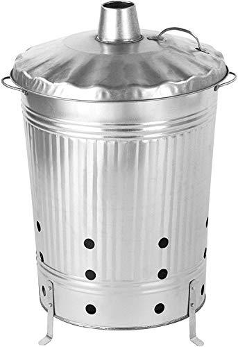 boa di fuoco litro Bidone 90 zincato I per bruciare e smaltire rapidamente i rifiuti da giardino