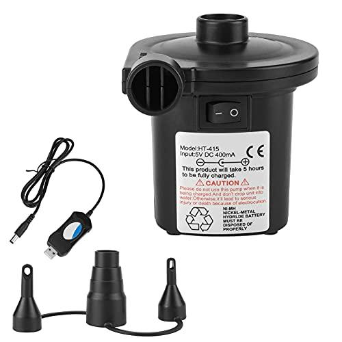 Bomba De Aire Eléctrica, Inflador Electrico Recargable, Hinchador Electrico para Inflar/Desinflar, con 3 Boquillas, para Colchones Inflables, Juguetes, Piscinas, Etc,Negro
