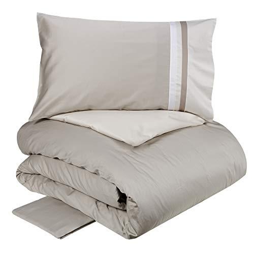 Fazzini Kubric 60 - Juego de funda nórdica reversible para cama de 2 plazas, color gris/marfil