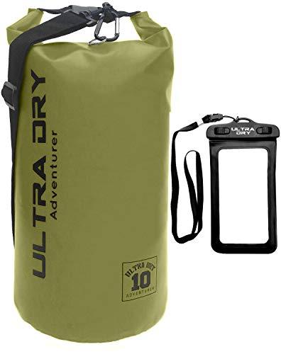 Premium waterdichte tas, zak met droogzak voor mobiele telefoon en lange, verstelbare schouderriem, ideaal voor kajakken, varen, kanoën, raften, zwemmen, camping, groen, 20 liter