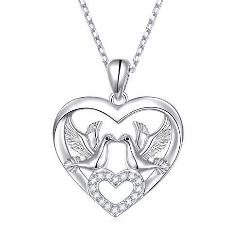 S925 Sterling Silver Double Animals 2 Doves Birds Faith Hope Love Heart CZ Pendant Necklace Gift for Women Wife Fiancee Girlfriend 18 + 2 inches Rolo Chain