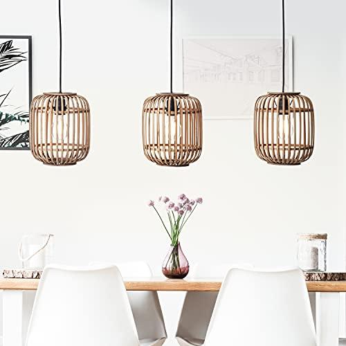 DekoNature - Lámpara colgante (3 bombillas E27, máx. 40 W, metal/ratán), color marrón claro y negro