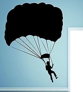 "Design with Vinyl RAD 554 3 Parachute Jumping Man Sky Diving Vinyl Wall Decal, Black, 20"" x 30"""