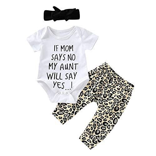 Infant Baby Girl Leopard Outfit Clothes Letter White Romper Bodysuit Tops + Long Legging Pant with Headband Clothing Set (Short Sleeve, 0-6 Months)