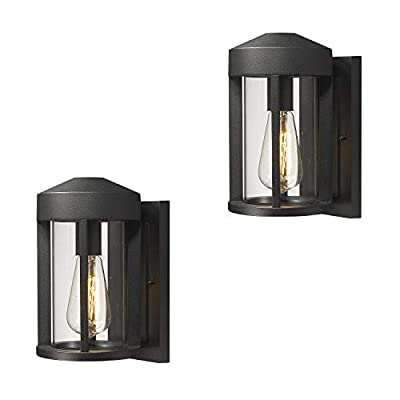Zeyu Outdoor Porch Lights Wall Mount 2 Pack, Wall Lantern Sconce Exterior in Black Finish with Clear Glass, 0372-WD-2PK BK
