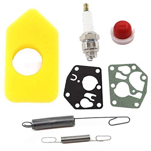 HURI Filtro dell'aria con membrana carburatore Molla di regolazione per motori Briggs & Stratton Quattro 450, 500, 550, serie 698369, Classic Sprint 795083, 694394, 692211, 691859