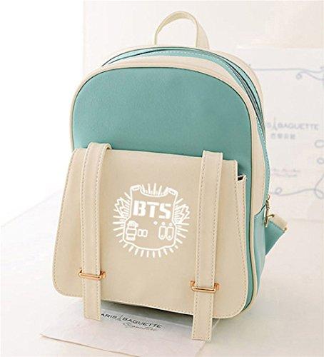 AUGYUESS KPOP Bangtan Boys BTS Schulranzen Daypack Crossbody Handtasche Rucksack (Grün 2)